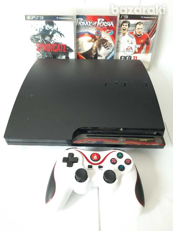 Ps3 slim 300gb with 3 games and 1 controller-1