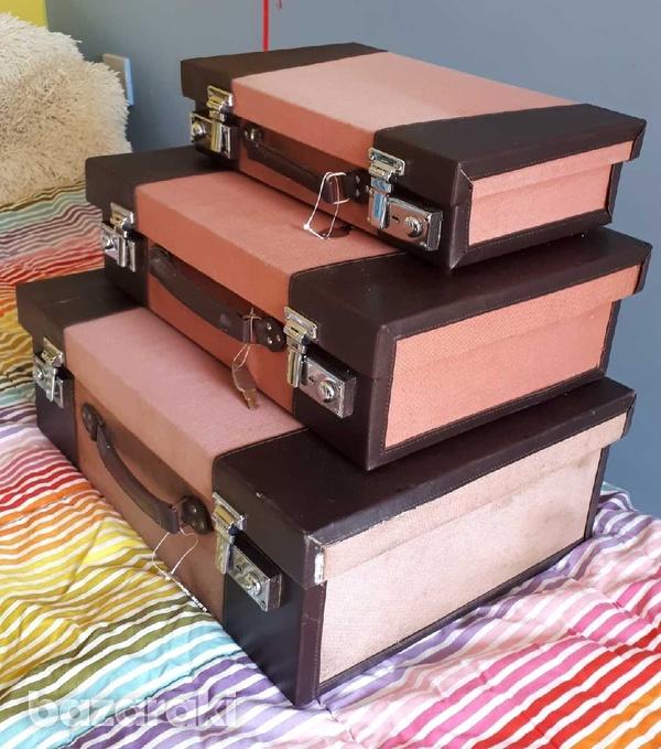 Vintage style wooden suitcase set of 3 / βαλίτσες.-3