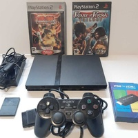 Playstation 2 slim with hdmi converter and 4 games