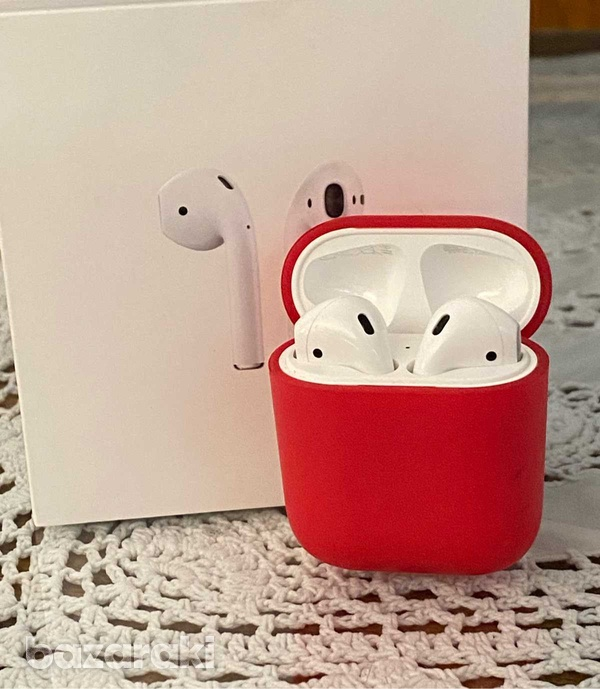 Airpods with charging case and red cover case-1