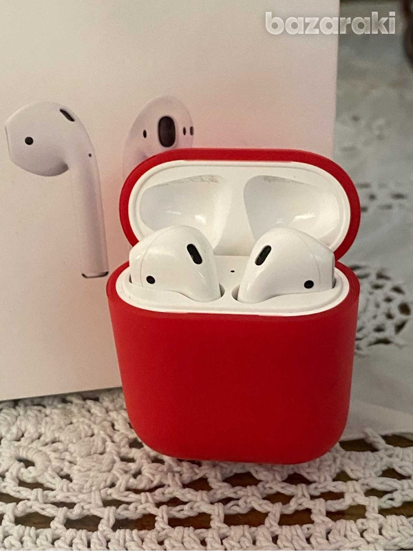 Airpods with charging case and red cover case-2