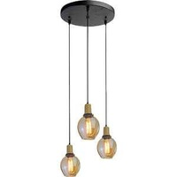 Trio glass pendant lamp e27 holder with glass lamp shade amber