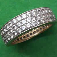 9ct yellow gold full eternity wedding ring with three rows of cz stone