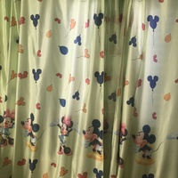 Curtains light green mickey and minnie