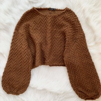 Stradivarius brown thick knitted cropped sweater