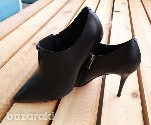 Leather low cut mid heel ankle boots-6