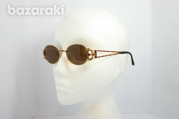 Magadesign vintage sunglasses italy 3105t rare gold w/ brown 49mm-1
