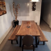 Black walnut live edge dining set