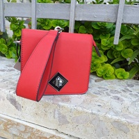 New red clutch bag