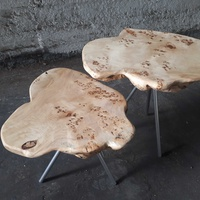 Set of 2 natural poplar table