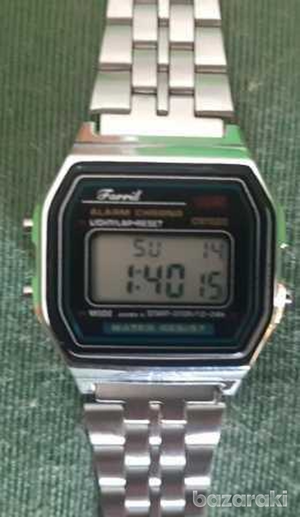 Small silver stainless steel lcd digital watch-1