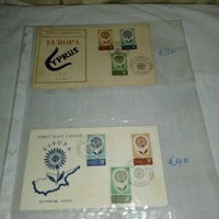 2 cyprus envelopes first day covers stamps europa issue 1964.