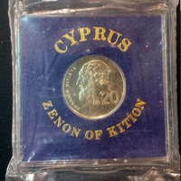 Cyprus 1989 20 cents unc in royal mint case