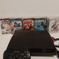 Playstation 3 slim 300gb with 5 games and 1 controller