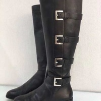 Michael kors tamara leather knee biker boots size 35 black