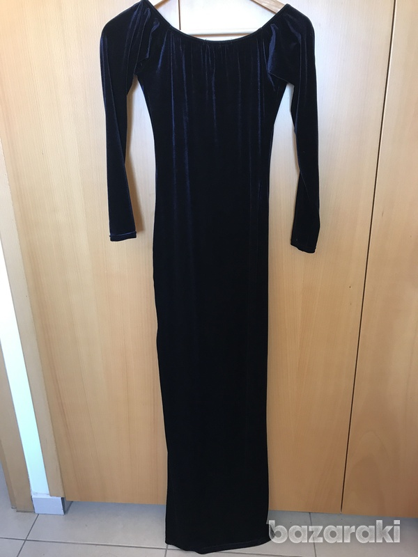 Missguided sued long dress blue xs-s-4