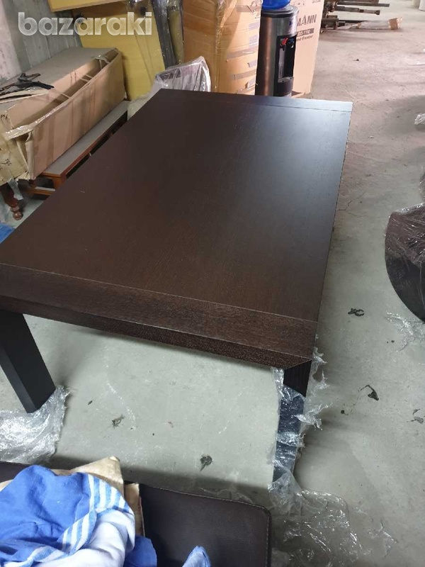 Extendable dining table with 8 leather chairs/ τραπέζι με 8 καρεκλες-1