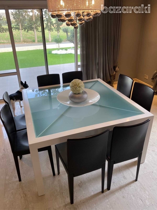 Square dining table with chairs-1