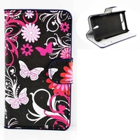 Flip leather case for sony xperia e1 flowers with butterflies black