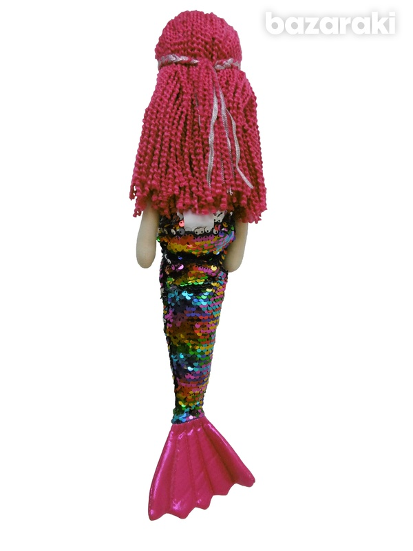Mermaid doll multicolor sequins color - plush τoy - κούκλα γοργόνα-3