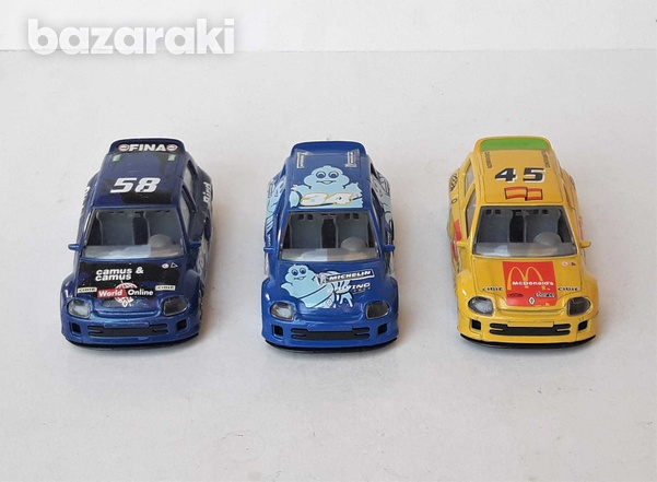 Lot of 3 burago diecast model rally cars renault clio trophy 1/43 scal-2
