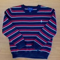 Polo ralph lauren boys blue white red knitted striped sweater 4t used