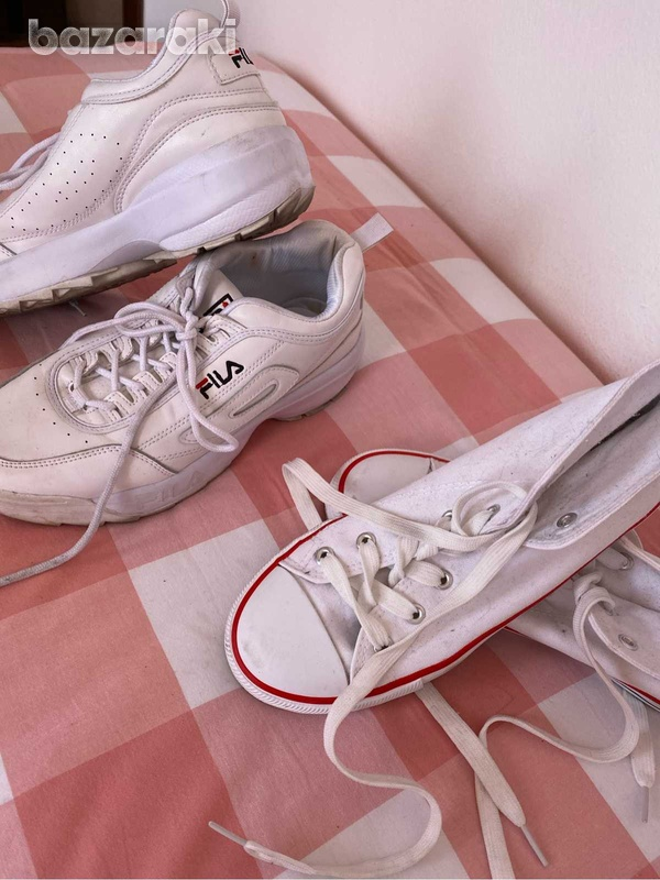 Fila shoes and white&red sneakers-3