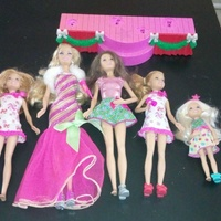 Barbie a perfect christmas stage with 5 dolls.