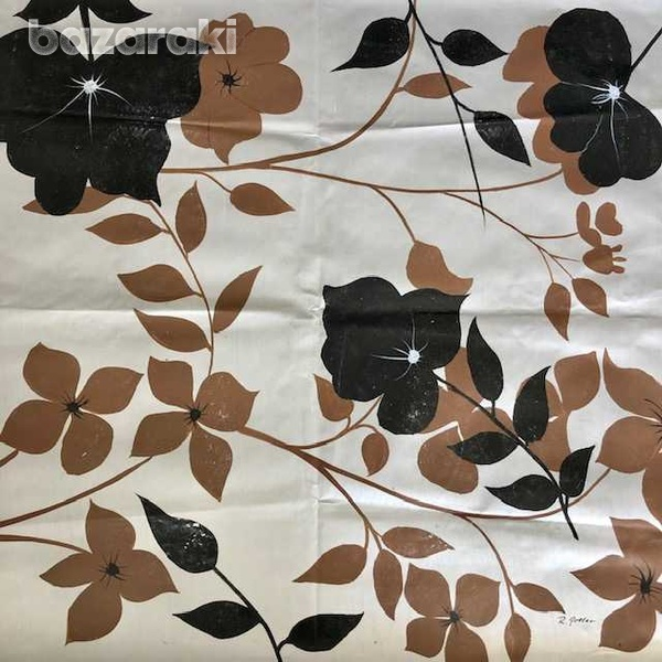Black and brown flowers painting oil on canvas-1