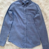 Tally weijl baby blue button up shirt with embroidered collar