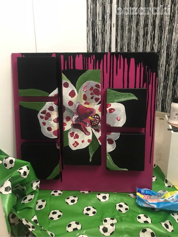 Handmade painting of a blooming orchid-1