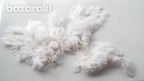 Carnival feather headdress plumes. set of five.-2