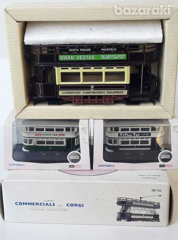 Vintage collectible lot of 3 trams corgi and oxford boxed.-2