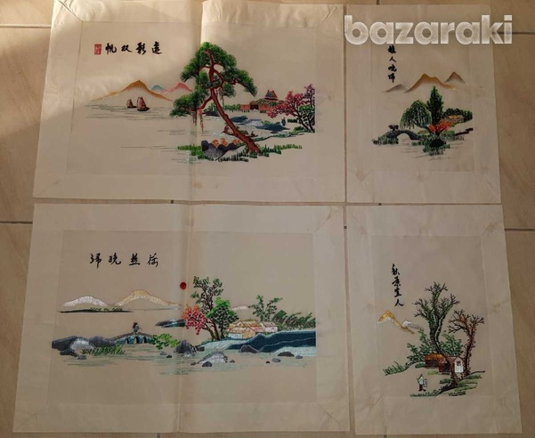 Four handmade silk thread chinese pictures