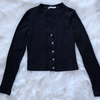 Stradivarius black cropped cardigan top