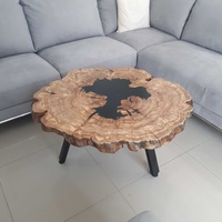Coffee table with olive wood and dark epoxy