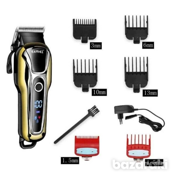 6 combs kemei cordless clipper-3