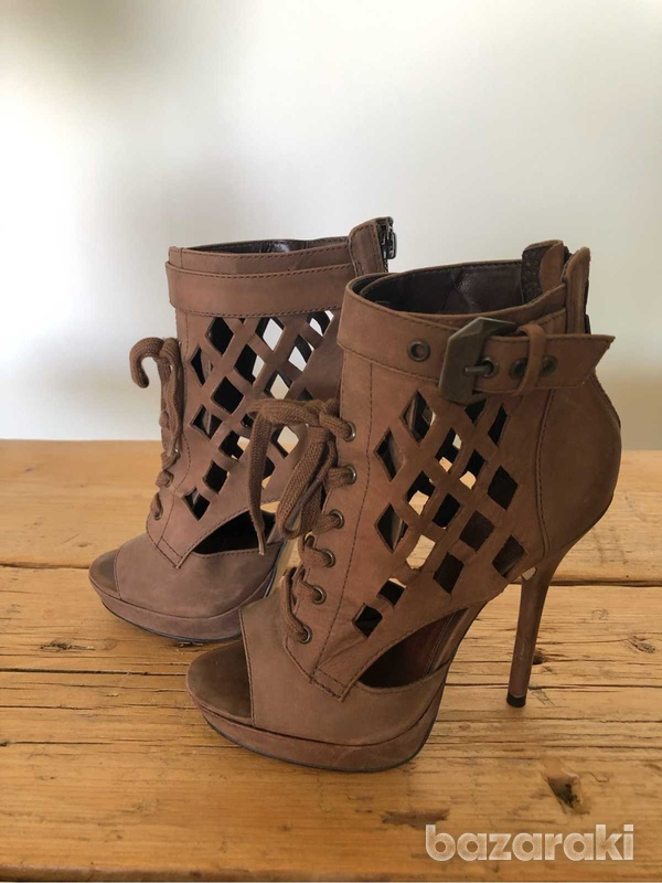 High heels brown ankle booties-1