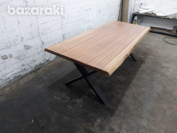 Natural african sapele wood dining table-3