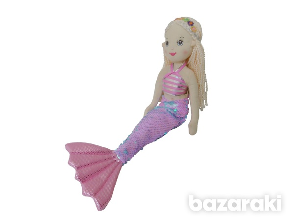 Mermaid doll pink sequins color - plush toy - κούκλα γοργόνα-1