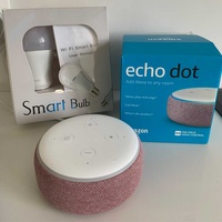 Amazon echo dot 3 alexa brand new + wifi smartcolour bulb 9w