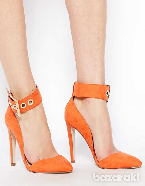 Asos coral pointed high heel shoes uk2-4