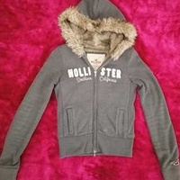 Wow hollister by abercrombie and fitch womens fux hoodie sz small
