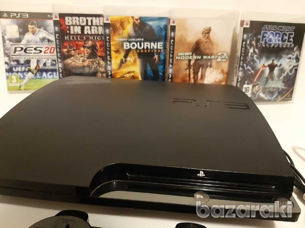 Playstation 3 ps3 slim with 1 controller and 5 games-2