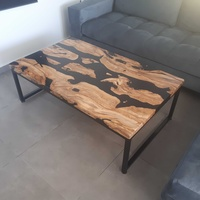 Olive wood and black epoxy table