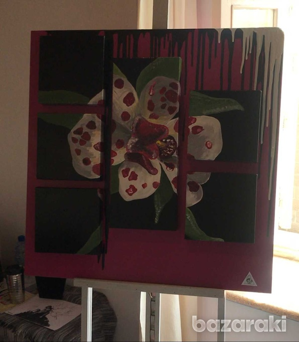 Handmade painting of a blooming orchid-5