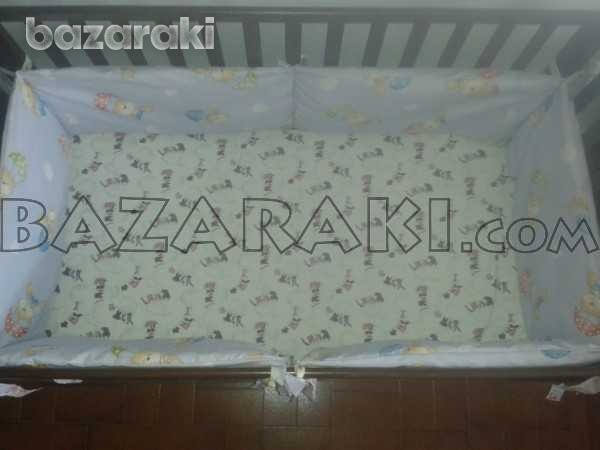 Wooden baby bed with mattress and bed bumper-2
