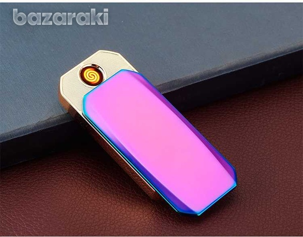 Metal cigarette usb rechargeable windproof electronic lighter-3