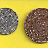 Cyprus coins 1963 5 mils and 25 mils κυπριακά νομίσματα του 1963