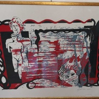 Print 4/5 in glass frame 53 cm length 67 cm. local artist